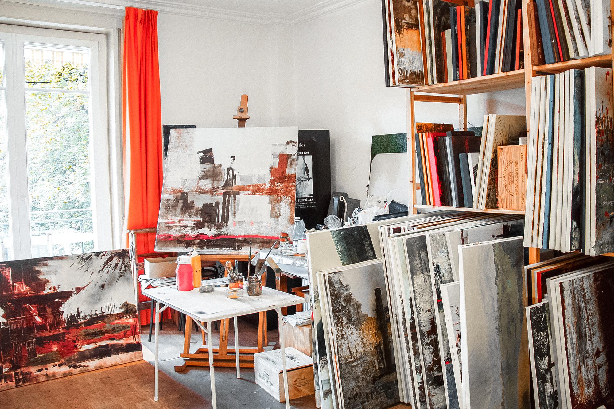 atelier de l'artiste peintre lausannoise Yolande Buchmüller Rouiller